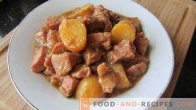 Potato stewed with pork in a pan