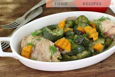 Squash with chicken in a slow cooker