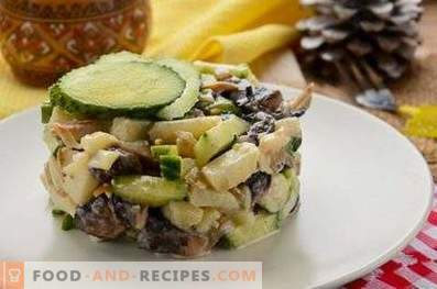 Salades met gebakken champignons
