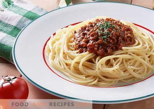 Spaghetti-Saucen sind die besten Rezepte. Wie man richtig und lecker gekochte Soße für Spaghetti macht.